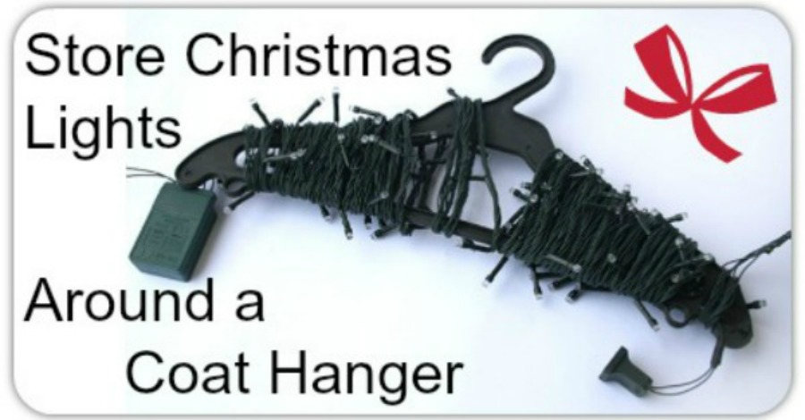 How to Store Christmas Lights Around a Coat Hanger - https://healthpositiveinfo.com/store-christmas-lights-around-a-coat-hanger.html