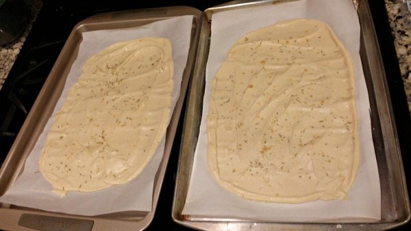 Grain Free Flatbread - spread onto sheet and add seasonings.